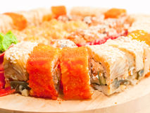 Sushi rolls in range on the desk Stock Photo
