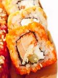 Sushi rolls in range on the desk closeup Stock Photo
