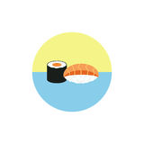 Sushi rolls in red fish  illustration isolated on white background. Japanese food. Icon. Flat style. Royalty Free Stock Images