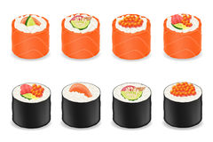 Sushi rolls in red fish and seaweed nori vector illustration Stock Images