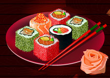 Sushi rolls on red plate, vector Royalty Free Stock Photo