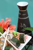Sushi rolls with sake set Stock Photo