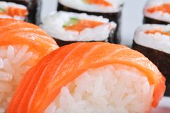 Sushi and rolls with a salmon Royalty Free Stock Photography