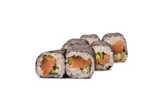 Sushi Rolls with Salmon and Cucumber Stock Photography