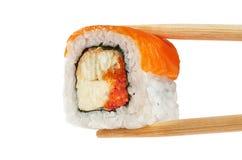 Sushi rolls with salmon, eel, caviar and philadelphia cheese. Ch Stock Photos