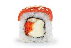 Sushi rolls with salmon, eel, caviar and philadelphia cheese. Stock Photos