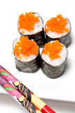 Sushi rolls with salmon fish eggs Royalty Free Stock Images