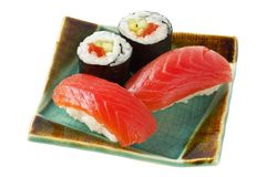 Sushi and rolls with salmon (path isolated) Royalty Free Stock Photography