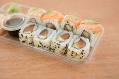 Sushi rolls with salmon Royalty Free Stock Images