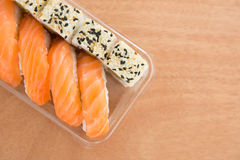 Sushi rolls with salmon Royalty Free Stock Photos