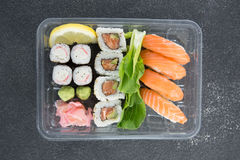 Sushi rolls with salmon Royalty Free Stock Photo