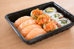 Sushi rolls with salmon Stock Photography