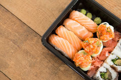 Sushi rolls with salmon Royalty Free Stock Image
