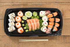 Sushi rolls with salmon Stock Images