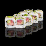 Sushi rolls with salmon, tuna, cucumber and green onions Stock Photo