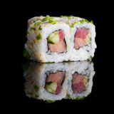 Sushi rolls with salmon, tuna, cucumber and green onions Royalty Free Stock Images