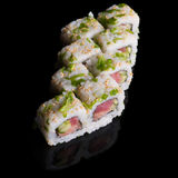 Sushi rolls with salmon, tuna, cucumber and green onions Stock Photos