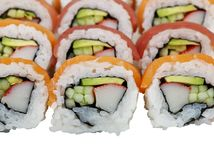 Sushi rolls with salmon and tuna on white background royalty free stock photo