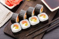 Sushi rolls with salmon and vegetables Stock Photography