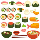 Sushi rolls and sashimi Japanese cuisine restaurant menu vector icons stock illustration