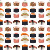 Sushi rolls sashimi seafood fish rice seamless pattern background japanese food fresh soy sauce japan meal maki raw. Sushi rolls set sashimi seafood fish rice Stock Photo