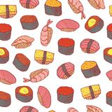 Sushi and rolls seamless pattern. Doodle cartoon color wallpaper royalty free illustration