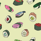 Sushi and rolls seamless pattern vector illustration