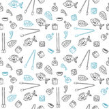 Sushi and rolls seamless pattern. Hand drawn Japanese food seaml Royalty Free Stock Image