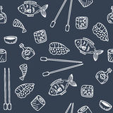 Sushi and rolls seamless pattern. Hand drawn sketch Japanese foo Stock Photos