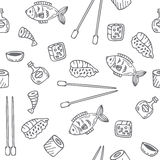 Sushi and rolls seamless pattern. Hand drawn sketch Japanese foo Stock Image