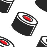 Sushi rolls seamless pattern Japanese food traditional cuisine vector illustration