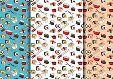 Sushi rolls seamless pattern set. Asian food restaurant menu repeat background concept. stock illustration