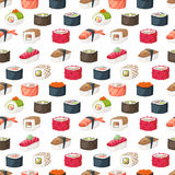 Sushi and rolls seamless pattern vector. Royalty Free Stock Photo
