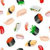 Sushi and rolls seamless pattern on white background Stock Images