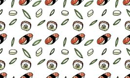 Sushi, rolls, seaweed doodle style seamless pattern. Asian cuisine. vector illustration