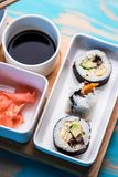 Sushi rolls served in special dishes Stock Photo