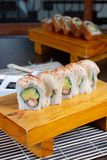 Sushi rolls served in wood - Image stock images