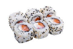 Sushi rolls with sesame seeds isolated on white background Royalty Free Stock Images