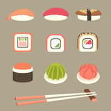 Sushi and rolls set. Set of sushi, rolls, with chopsticks, wasabi and ginger. Simple flat elements stock illustration