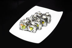 Sushi rolls set with crab meat and avocado Stock Photo