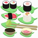 Sushi rolls set of icon. vector illustration Stock Photography