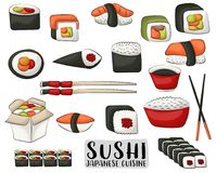 Sushi and rolls set. Japanese cuisine concept. Icons and objects for asian restaurant menu or advertisement. Vector illustration isolated on white background vector illustration