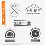 Sushi and rolls a set. Japanese kitchen. Typographic labels, logos and badges. Stock Photography