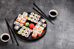 Sushi rolls set served in round plate Stock Images