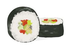 Sushi rolls set. White rolls with fish, vegetables and nori stock illustration