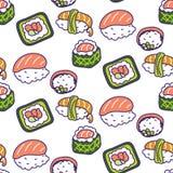 Sushi rolls set vector seamless pattern. Japan cuisine background vector illustration