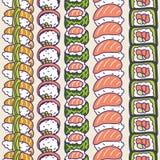 Sushi rolls set vector seamless pattern. Japan food rows background stock illustration