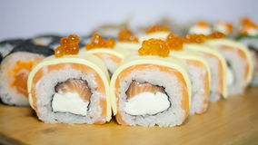 Sushi rolls set stock video footage