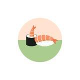 Sushi rolls with shrimp  illustration isolated on white background. Japanese food. Icon. Flat style. Royalty Free Stock Image