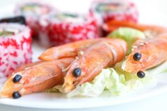 Sushi rolls with shrimps. On the white plate stock photo